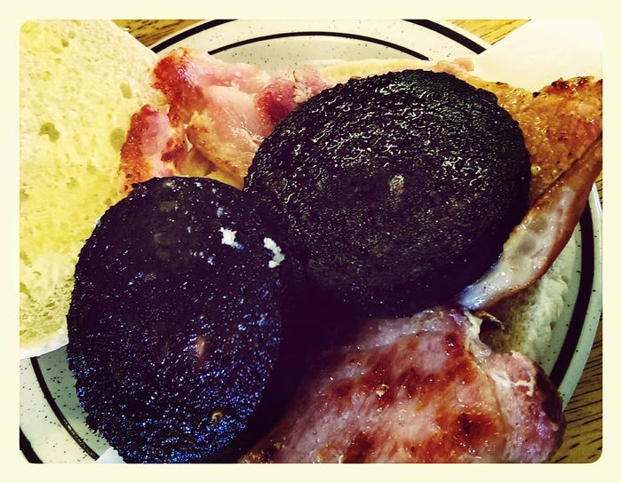 black pudding and bacon bap in the cafe Relaxing Enjoying Life Food