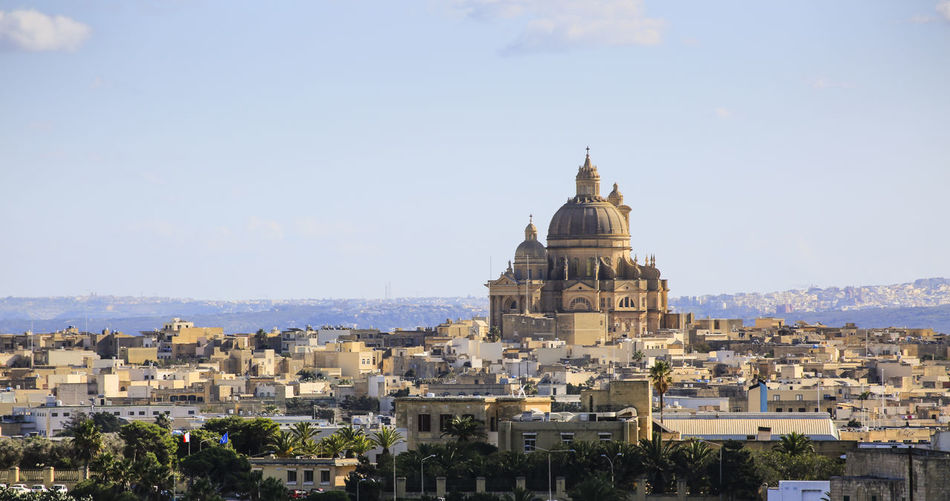 View of the city of gozo in the island of malta