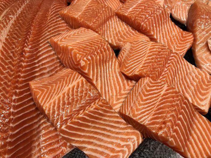 Full frame shot of salmon slices