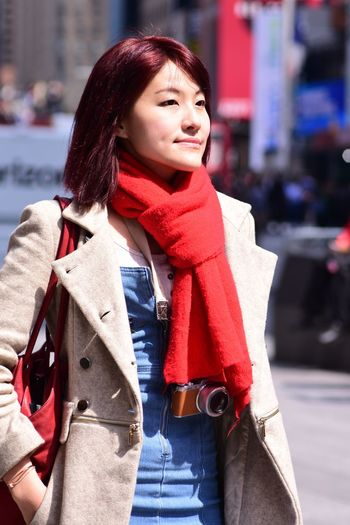 NYC. Dreams are made here. One Person Winter Waist Up Clothing Real People Warm Clothing Young Women Women Young Adult Lifestyles Looking Away Looking Red City Beautiful Woman Front View Scarf Beauty Day Outdoors