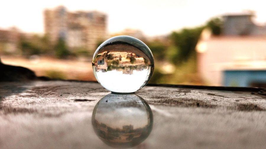 Reflection Of Buildings On Crystal Ball