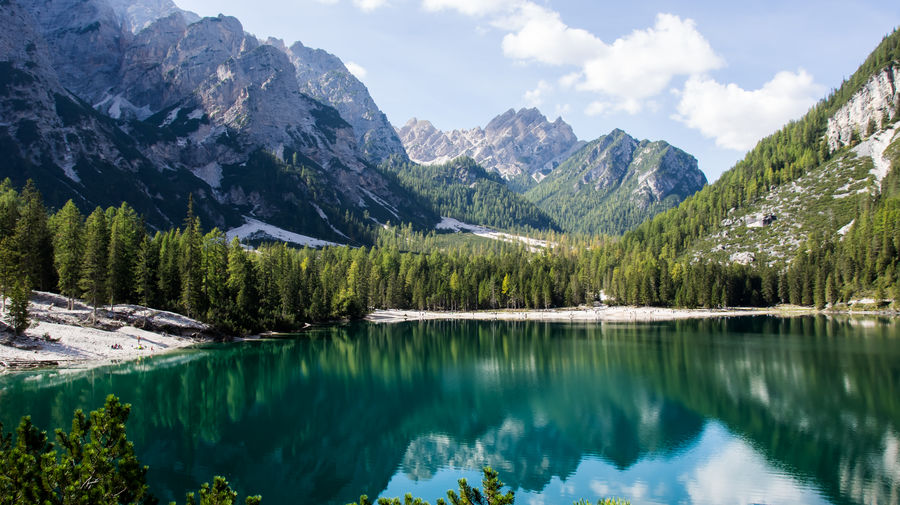 lago di braies Water Mountain Beauty In Nature Scenics - Nature Nature Non-urban Scene Tranquility No People Day Lago Di Braies Pragser Wildsee Tree Tranquil Scene Plant Lake Sky Reflection Idyllic Mountain Range Cloud - Sky Remote Turquoise Colored Formation