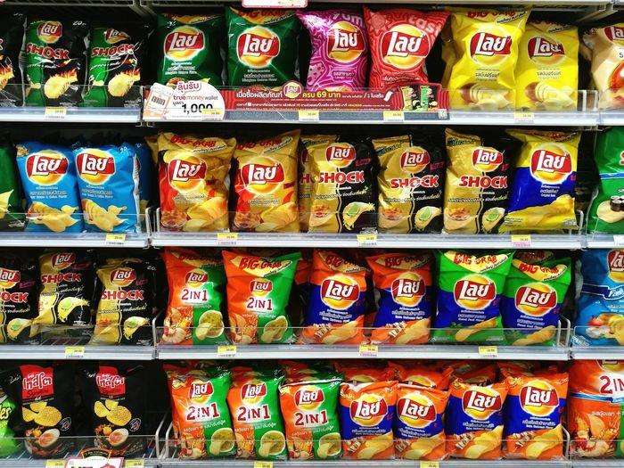 supermarkets Color Close-up No People Supermarket Shelf Stack For Sale