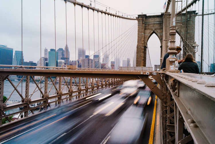 Newyork Manhattan Broklyn Bridge City Suspension Bridge Architecture Transportation City Life Travel Destinations Outdoors Cityscape Bridge - Man Made Structure New York, New York Cars Traffic Slow Shutter Speed Built Structure Connection City Street