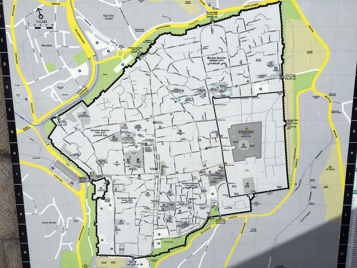 A map of the old city of Jerusalem in Israel with all districts, the Temple Mount and all gates Jerusalem Israel Old Town Citymap Close-up Direction Israel Jerusalem Map Map Of The Centre No People Old City Of Jerusalem Temple Aera Temple District Temple Mount