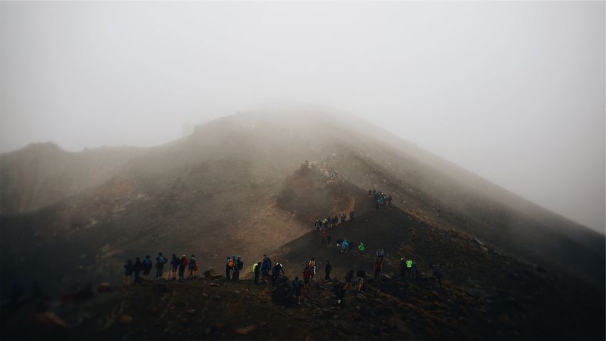 Outdoors Volcano New Zealand Fog Foggy Hill Summit Hike Hikers Hiker Grey Grey Sky