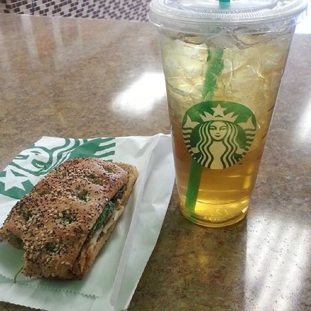 Breakfast ! Starbucks makes my tummy happy. Icedgreentea Unsweetened Turkeypanini