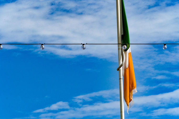 Close-up of indian flag against blue sky