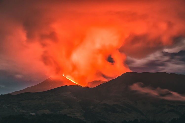 Volcano Etna eruption Mountain Volcano Beauty In Nature Smoke - Physical Structure Geology Lava Heat - Temperature Erupting Sky No People Warning Sign Power In Nature Power Environment Sign Orange Color Nature Mountain Range Scenics - Nature Cloud - Sky Outdoors Mountain Peak Volcanic Crater Sicily Catania