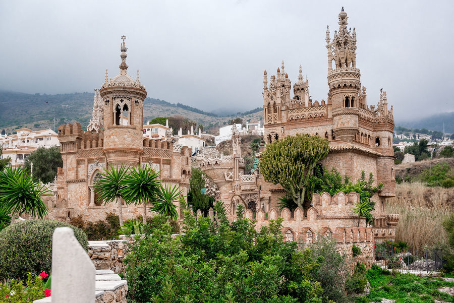 View of Colomares Castle. Castle dedicated to the explorer and navigator Christopher Columbus. Benalmadena town. Province of Malaga. Andalusia. Spain Andalucía Architecture Benalmádena, Malaga, Spain Byzantine Architecture Castle Christopher Columbus Cloud - Sky Colomares Castle Costa Del Sol Europe Exterior Gothic Architecture History Landmark Malaga Monument Monumental  Nobody Outdoors Palace Roman Architecture Sightseeing SPAIN Stone Travel Destinations