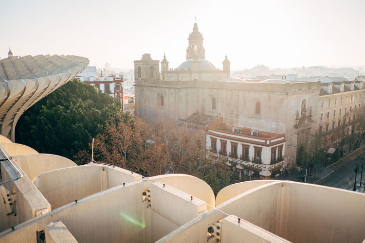 Sevilla / Spain EyeEmNewHere Metropol Parasol SPAIN Sevilla The Graphic City Architecture Building Exterior Built Structure Clear Sky Day No People Outdoors Plaza De España Sky Tree Water