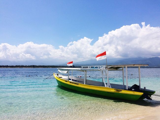 Nautical Vessel Boat Fisher Boat Sea Gili Islands Gili Air Turquoise Water Lonelyplanet Colourful World Sky Water Cloud - Sky Scenics No People Beach Bali, Indonesia Flags Done That.