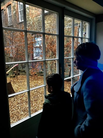 Gazing out Togetherness Family Time Saltram House Leaves Autumn Colors Window Real People Looking Through Window Indoors  Boys Two People Winter Lifestyles Day This Is Family
