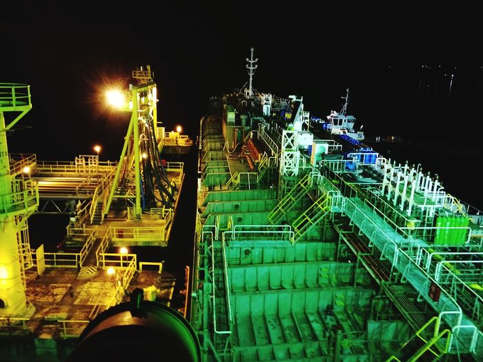 Nautical Theme Nautical Vessel Harbour Terminal Tanker Ship Tanker Terminal Nightphotography Calm Sea Life Onboard Night Illuminated Oil Industry Outdoors No People Industry Factory