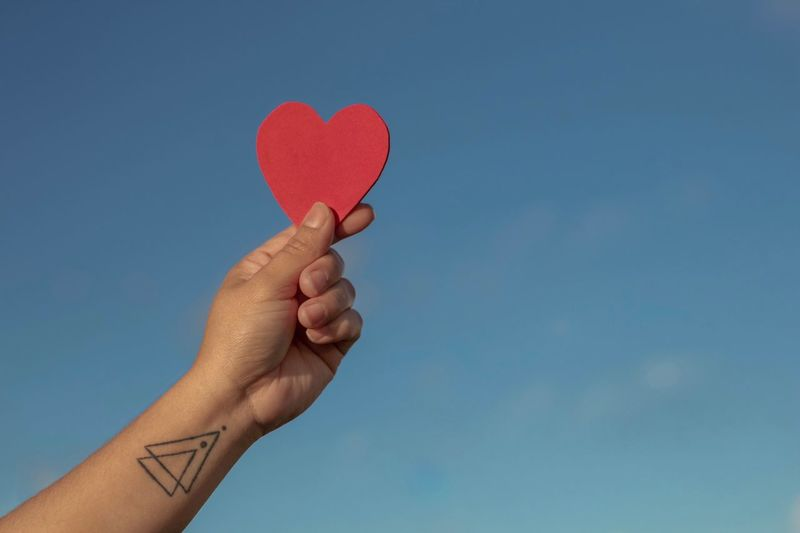 Cropped hand of woman holding heart shape against sky