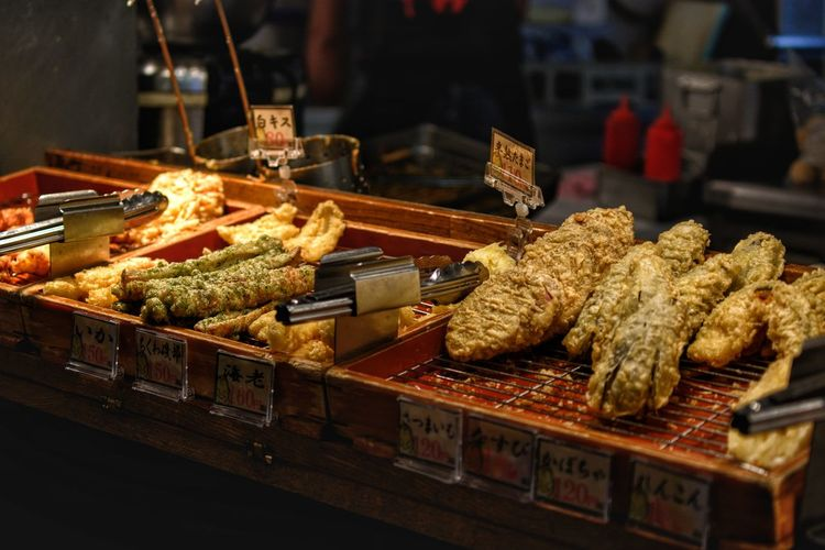 Tempura, a street food addiction in Japan Market For Sale Business Finance And Industry City Close-up Food And Drink Skewer Street Food Char-grilled Concession Stand Barbecue Grill Market Stall Market Vendor