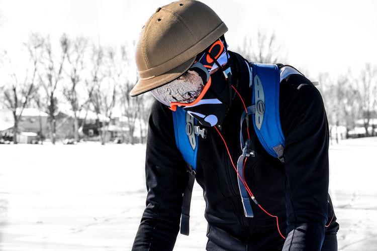 Man wearing warm clothing during winter