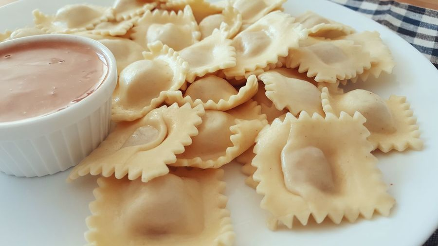 Stuffed Pasta with Tomato Sauce - DIP Food Close Up Close-up Homemade Delicious Italian Dish Carbohydrate Stuffed Breakfast Lunch Snack
