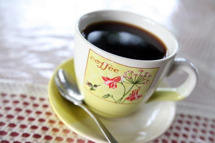 High Angle View Of Fresh Black Coffee