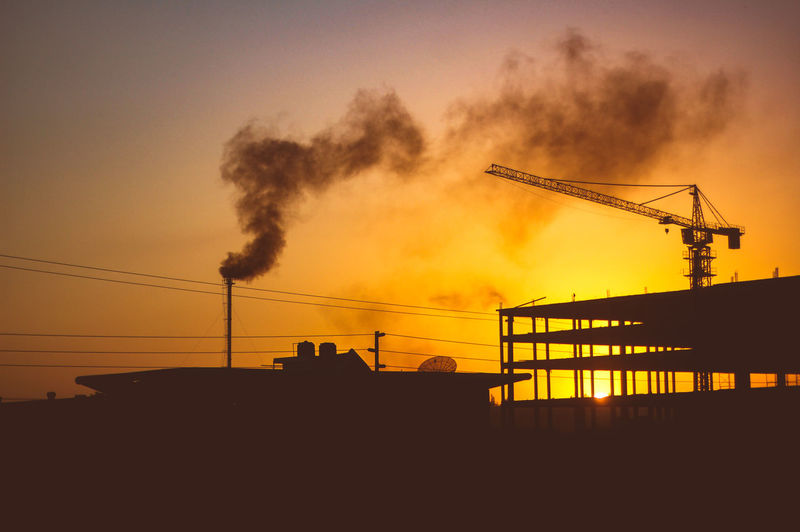 Architecture Building Exterior Built Structure Construction Site Crane Day Development Factory Industry Nature No People Outdoors Silhouette Sky Sunset