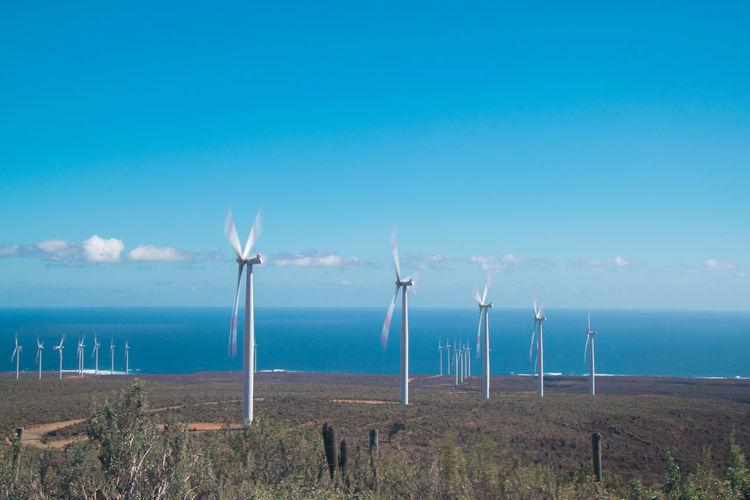 Windmills on field by sea against blue sky