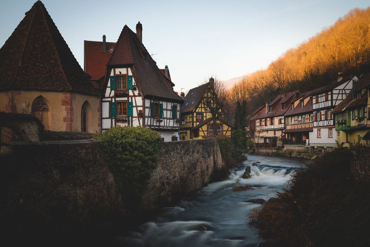 Lovely village with flowing river