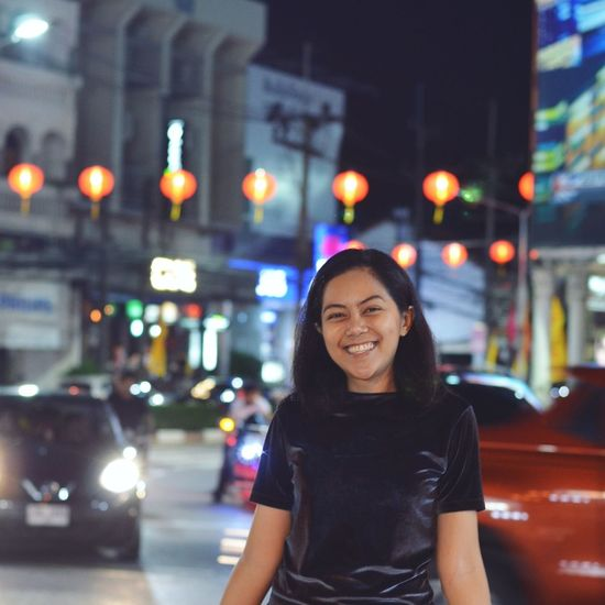 @ Phuket city EyeEm Selects City Portrait Smiling Illuminated Cheerful Women Happiness Cityscape Nightlife Human Face Charming