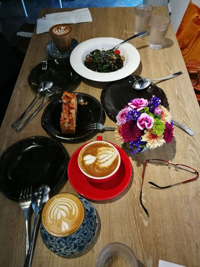 Table Plate Indoors  Food And Drink High Angle View Food Fork Serving Size Directly Above No People Freshness Ready-to-eat Brunch Brunching Flowers Food Stories