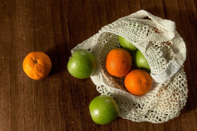 Warm Colors Indoors  Bag Environment No Plastic Rustic Fruit Citrus Fruit Wood - Material Table Close-up Food And Drink Vitamin C Orange - Fruit