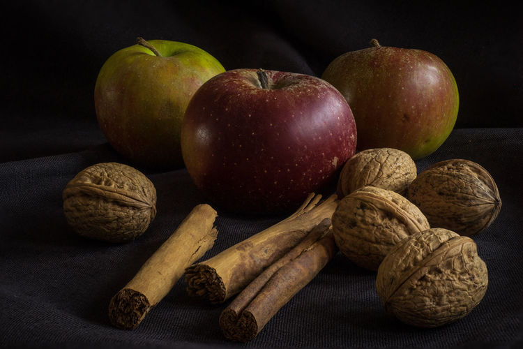 App Black Background Cinnamon Sticks Close-up Food Fruit No People Still Life Studio Shot Walnuts