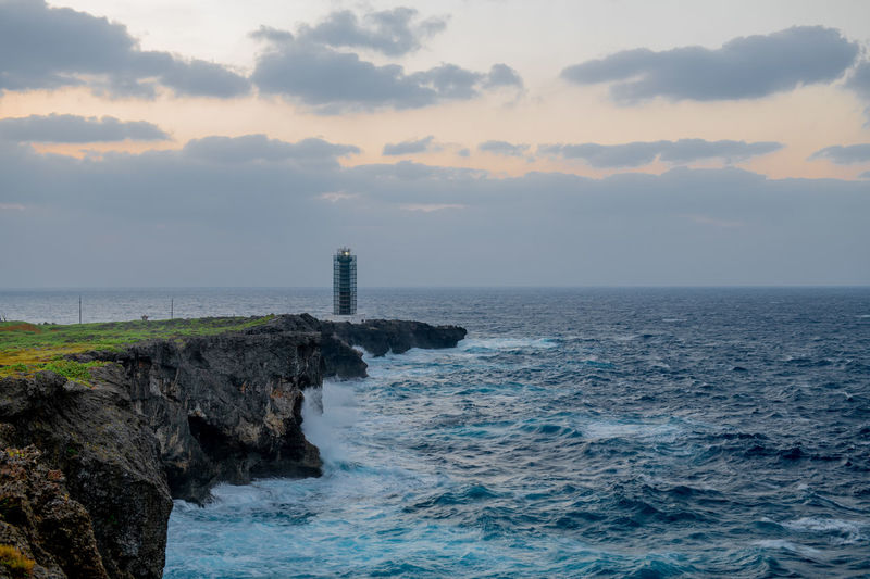 Sea Sky Water Beauty In Nature Horizon Over Water Horizon Tower Tranquil Scene Lighthouse Landscape Nature Okinawa Japan Travel Traveling Wave