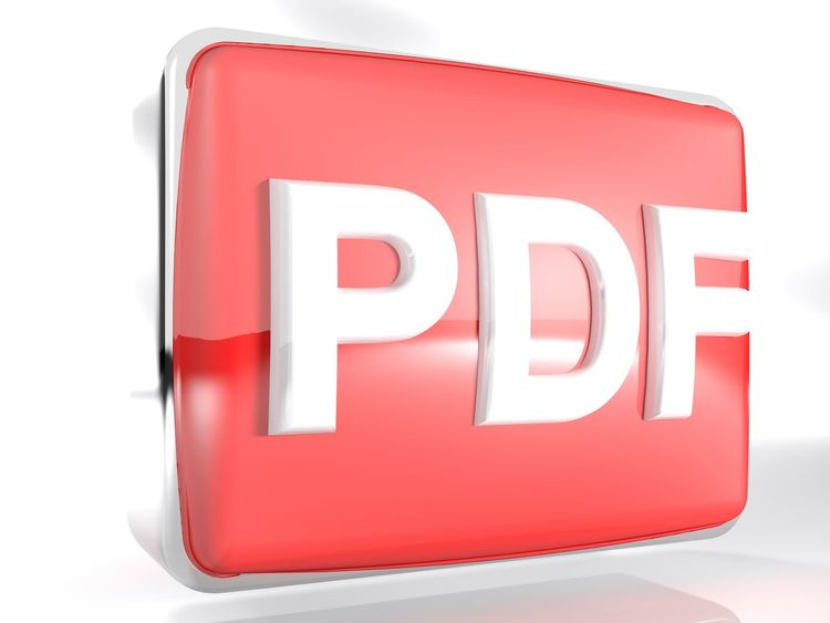 An icon for PDF files: a red rounded box with a chromed border line has the write PDF on its front face - 3D rendering illustration 3d Rendering Box File Icon PDF Reading Sign Text Book Concept Document Download Folder Format Illustration No People Portable Red Symbol White Background
