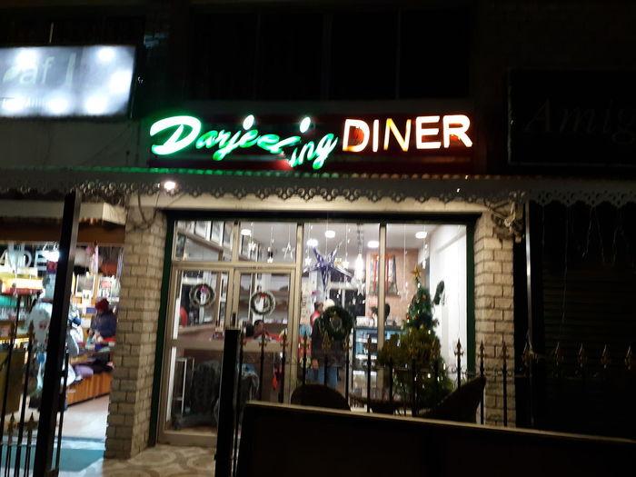 Illuminated restaurant at store