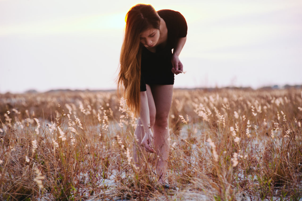 field, nature, young adult, real people, long hair, young women, standing, one person, leisure activity, lifestyles, front view, growth, tranquil scene, outdoors, beauty in nature, plant, landscape, beautiful woman, scenics, sunset, sky, grass, full length, day