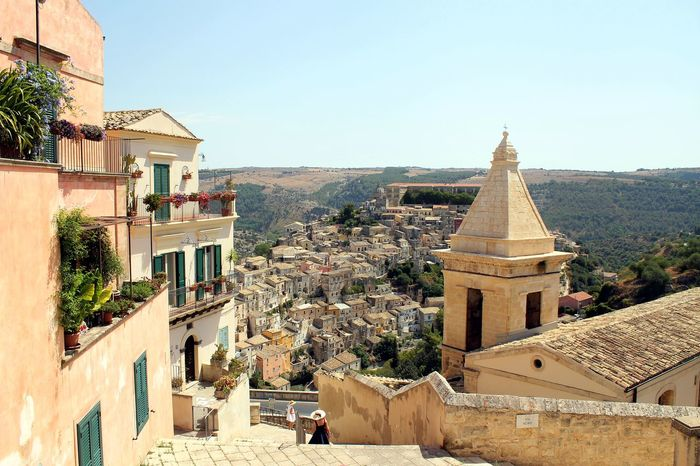 Italy, Sicily: View of old Ragusa Ibla. Ancient Beautiful Day City Holidays Houses Road Sicily Wonderful Architecture Building Built Structure Churchs Clear Sky Ibla Italy Montalbanosono Old Outdoors Ragusa Ragusa Ibla Sky Street Summer Town Village