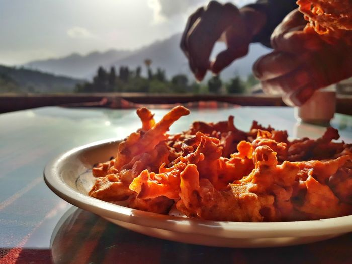 Kashmiri pakoras for tea Food Travel Destinations Kashmir Pakoras Water Plate Close-up Deep Fried  Fried Food My Best Travel Photo