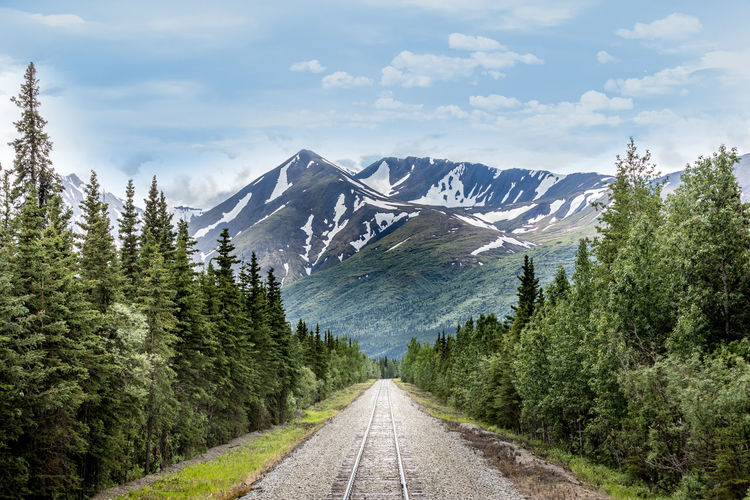 Railroad Track Leading Towards Snowcapped Mountains