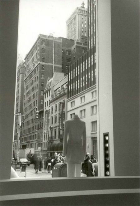 First time in New York Architecture Banner - Sign Clothing Store Facade Building Fashion Boutique Mannequin Monochrome Photography New York City Passersby Pavement Perspectives And Dimensions Rows Skyscrapers Stylish Traffic Lights Trousers Urban Skyline Walking Windowdisplay Windows