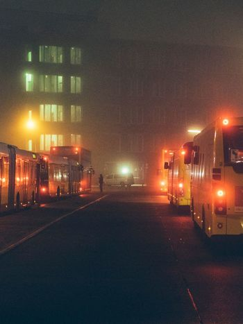 Berlin Fog Public Transportation Bus Night Illuminated Architecture Built Structure Building Exterior No People The Way Forward City