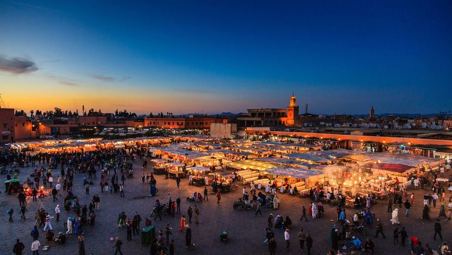 EyeEm Selects Large Group Of People Town Square Travel Illuminated Sunset Morocco Marrakech Crowd Night Outdoors Bazaar