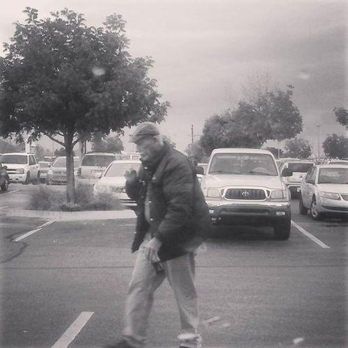 A man walks