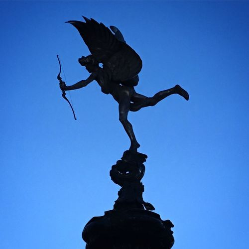 Statue Sculpture Low Angle View Clear Sky No People Blue Silhouette Outdoors Day Bird Sky Eye4photography  EyeEm Best Edits EyeEmBestPics Eyeemphotography EyeEm Best Shots Oziref EyeEm Best Shots - Nature London Picoftheday The Week Of Eyeem