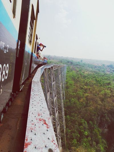 Our tickets included - a few cents - life insurance. Now we understand why.. People Sky One Person Train Ride Myanmar Burma Gokteik Viaduct Highest Railway Bridge Jawdropping Nervewrecking Outdoors Never Forget