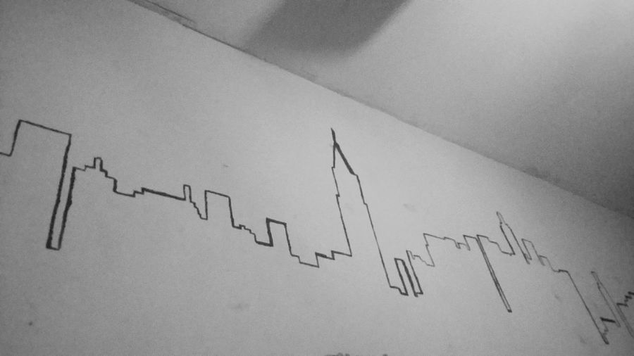 No People Built Structure Point Of View New York Melancolic Painted Wall Black And White