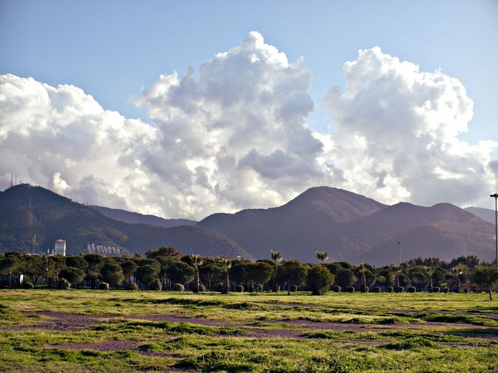 Scenic View Of Grassy Field And Mountains Against Sky