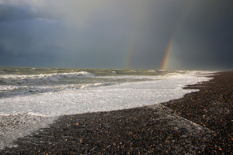 Dark Skies Dark Sky France Rainbow At Sea Stormy Weather Beach Beauty In Nature Cloud - Sky Horizon Over Water Nature No People Outdoors Power In Nature Rainbow Sea Seascape Sky Water Wild Nature Cayeux Sur Mer