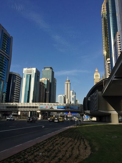 Taking Photos Shaikh Zayed Road Dubai City Architecture Building Exterior Built Structure Skyscraper Modern Outdoors