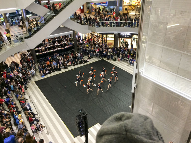 Arts Culture And Entertainment Cheerleaders  City Life Community Construction Culture Large Group Of People Leisure Activity Men MOA Real People Top Perspective Women