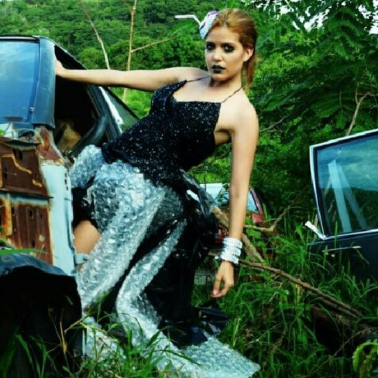 Photography by The Selcouth Make up by Marinna Bogdan! Blonde Blackandwhite Dress Recycled car junkyard photoshooting photography model trees grass bracelet hairpin instapic instalover