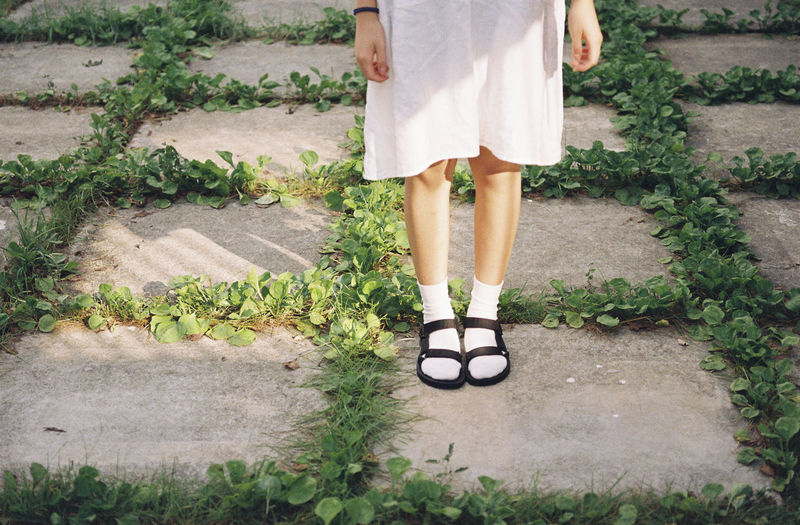 Adult Adults Only Day Grass Growth Human Body Part Human Leg Lifestyles Low Section Nature One Person One Woman Only Only Women Outdoors People Plant Real People Sandal Shoe Standing Women